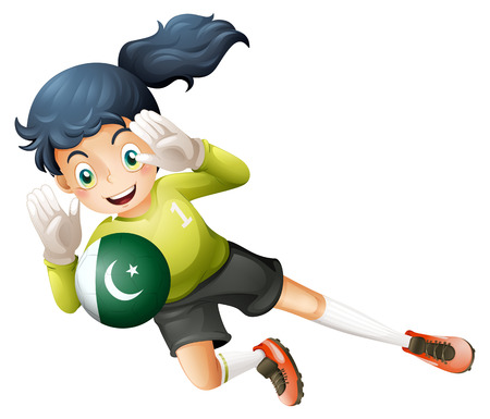 Illustration of a soccer player from Pakistan on a white background Illustration