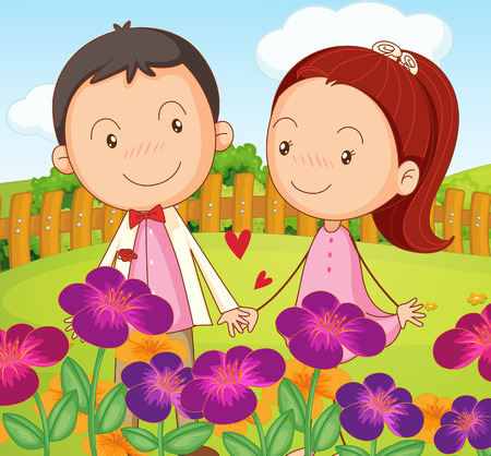 Illustration of a sweet couple at the garden in the hilltop Vector