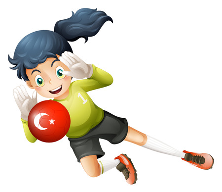 Illustration of a female football player using the ball with the flag of Turkey on a white background Vector