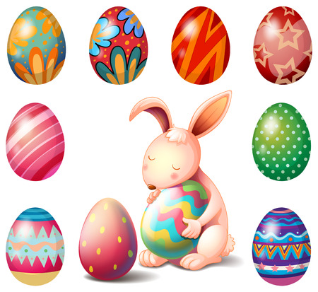 Illustration of a bunny surrounded with Easter eggs on a white background Vector
