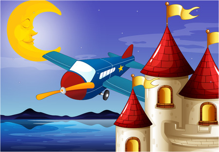 Illustration of a sleeping moon, an airplane and a castle Illustration