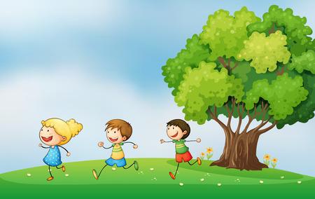 playmates: Ilustración de los tres niños enérgicos jugando en la cima de una colina con un árbol grande