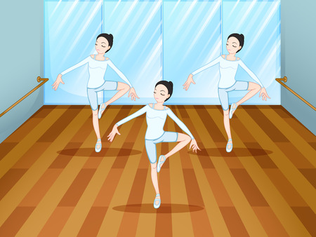 rehearsal: Illustration of a dance rehearsal inside the studio Illustration