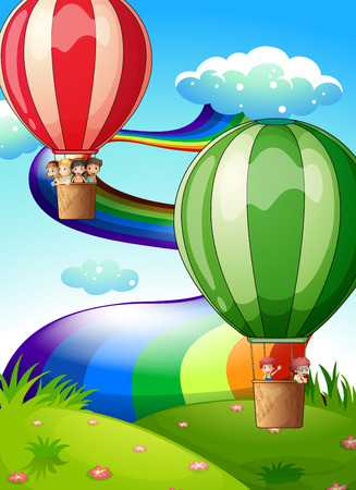 Illustration of the floating balloons with kids Vector