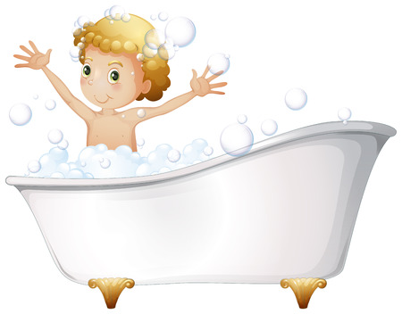 Illustration of a young boy taking a bath at the bathtub on a white background Vector
