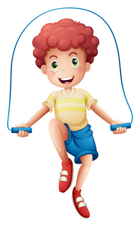 Illustration of a boy playing with the rope on a white background Vector