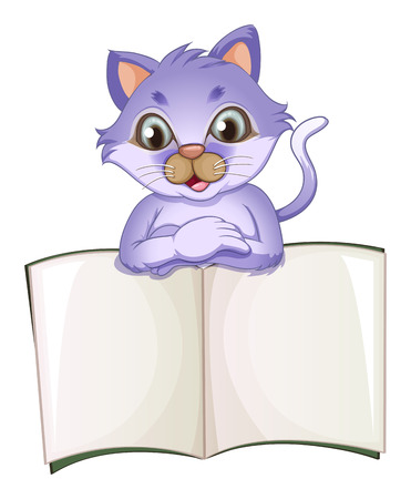 Illustration of a cat opening the empty book on a white background Vector