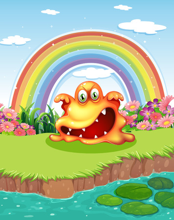 lilypad: Illustration of a scary monster at the pond and a rainbow in the sky