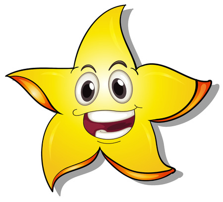 eyes wide open: Illustration of a smiling star on a white background Illustration