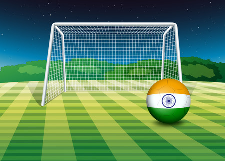Illustration of a soccer ball near the net with the flag of India Vector