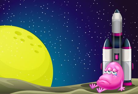 programmed: Illustration of a sad monster beside the rocket in the outerspace