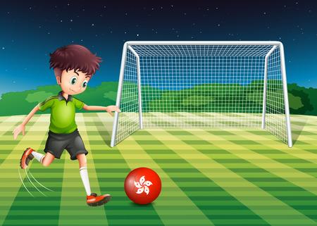 kicking ball: Illustration of a young man kicking the ball with the flag of Hongkong