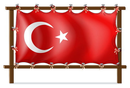 Illustration of a wooden frame with the flag of Turkey on a white background Vector