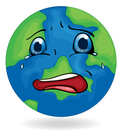 Illustration of a sad Earth on a white background