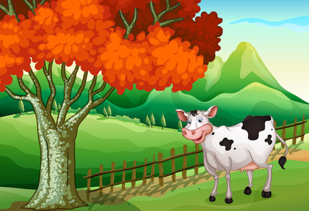 milking: Illustration of a smiling cow near the big tree