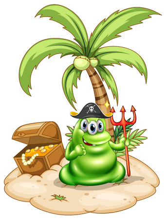 Illustration of a pirate monster in the island on a white background Vector