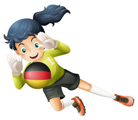 Illustration of a young lady using the ball with the flag of Germany on a white background