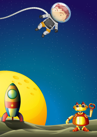 outerspace: Illustration of an astronaut and a robot in the outerspace