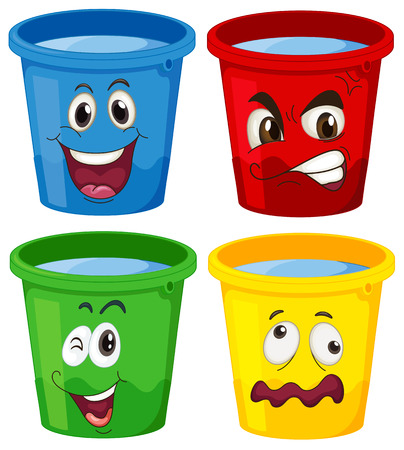 Illustration of the buckets with faces on a white background Vector