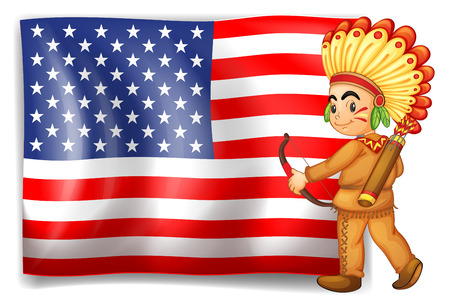 sides: Illustration of a young Indian and the USA flag on a white background Illustration