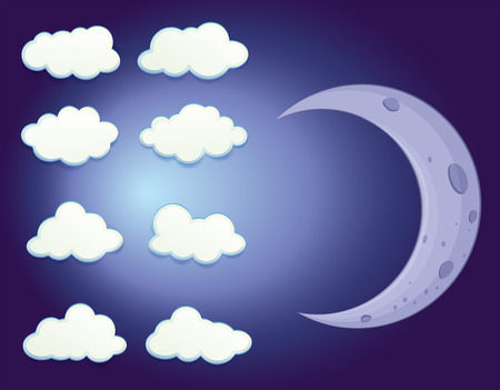 Illustration of a sky with clouds and a moon Vector