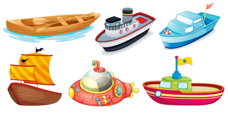 Illustration of the different boat designs on a white background Vector