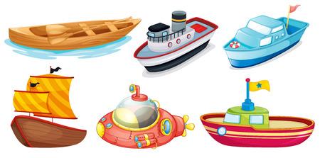 barco caricatura: Ilustraci�n de los diferentes dise�os de barcos sobre un fondo blanco