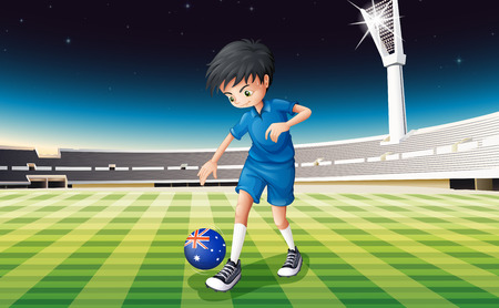 footwork: Illustration of a boy at the field using the ball with the flag of Australia Illustration