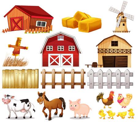 Illustratie van de dingen en dieren die op de boerderij op een witte achtergrond