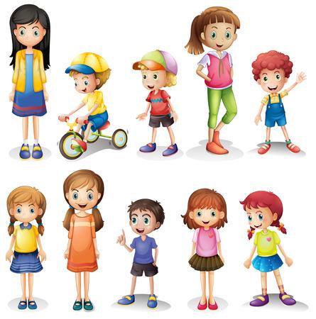 niña: Ilustración de los hermanos y hermanas sobre un fondo blanco