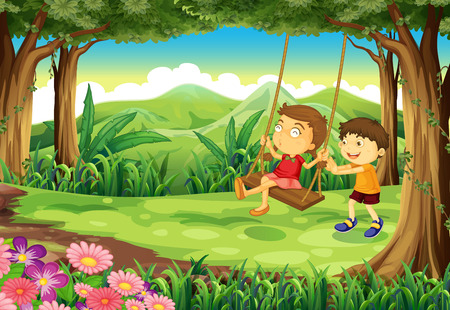 Illustration of a girl and a boy playing at the jungle Illustration