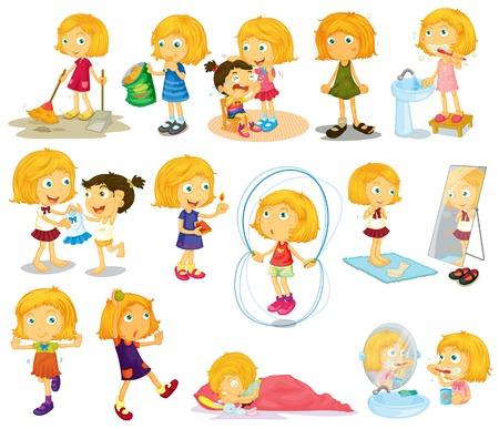 chores: Illustratie van de dagelijkse activiteiten van een jonge blondie's op een witte achtergrond Stock Illustratie