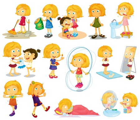 Illustration of a young blondies daily activities on a white background