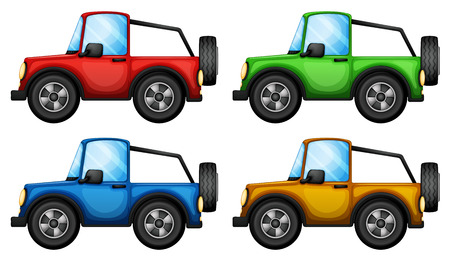 Illustration of the four colorful jeepneys on a white background Vector