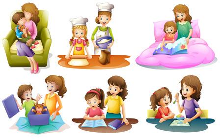 juntos: Ilustración de las diferentes actividades de una madre y un niño sobre un fondo blanco