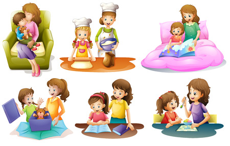 Illustration of the different activities of a mother and a child on a white background Illustration