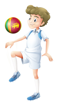 srilanka: Illustration of a young man using the ball with the flag of Sri Lanka on a white background