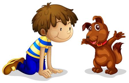 arrodillarse: Ilustración de un niño y su mascota marrón sobre un fondo blanco