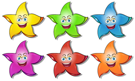 sides: Illustration of the smiling stars on a white background