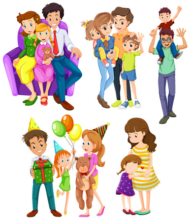 Illustration of the different families on a white background Illustration