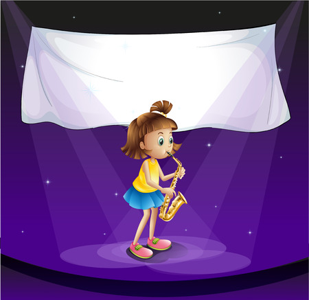 Illustration of a young girl performing at the stage with an empty banner Illustration