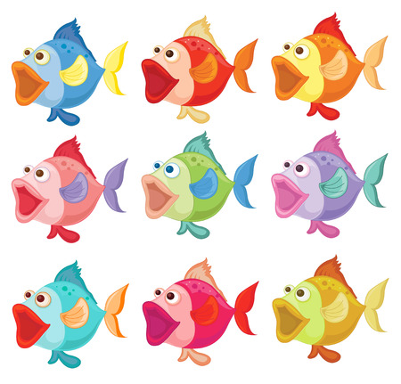 school of fish: Illustration of the colorful fishes on a white background