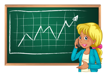 woman cellphone: Illustration of a woman using her cellphone in front of the chalkboard on a white background