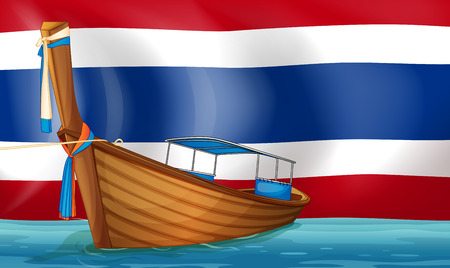 Illustration of a boat in front of the Thai flag Vector
