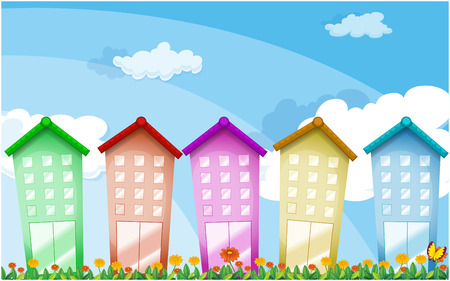 Illustration of the colorful tall buildings Vector