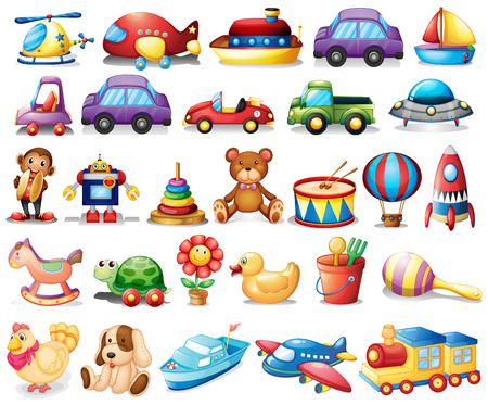 Ilustração da coleção de brinquedos em um fundo branco Ilustración de vector