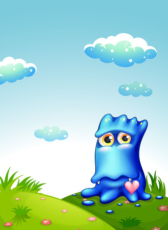 critter: Illustration of a blue monster at the hilltop Illustration