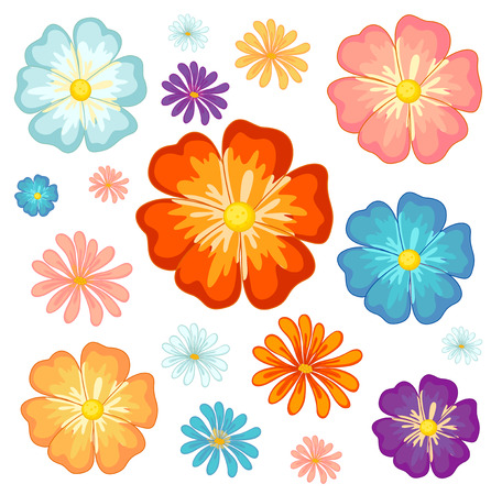 Illustration of the big and small flowers on a white background Vector