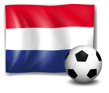 footwork: Illustration of the flag of Netherlands at the back of a soccer ball on a white background