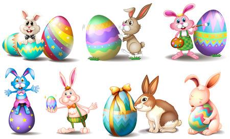 Illustration des oeufs de Pâques avec des lapins ludiques sur un fond blanc